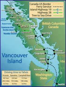 map vancouver island canada road and ferry map of vancouver island washington and