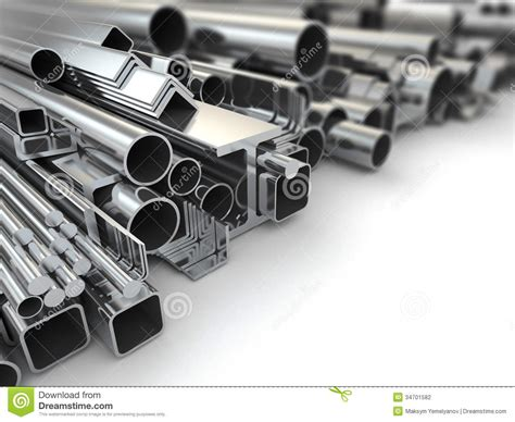 what is en steel metal profile and steel pipes background 3d stock