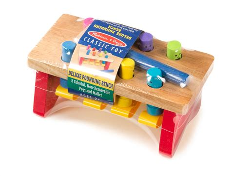 pound a peg wooden bench amazon com melissa doug deluxe pounding bench melissa