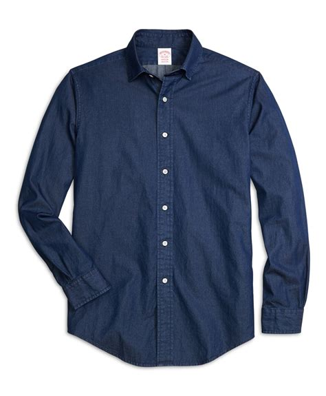 sport collar lyst brothers regent fit spread collar denim sport shirt in blue for