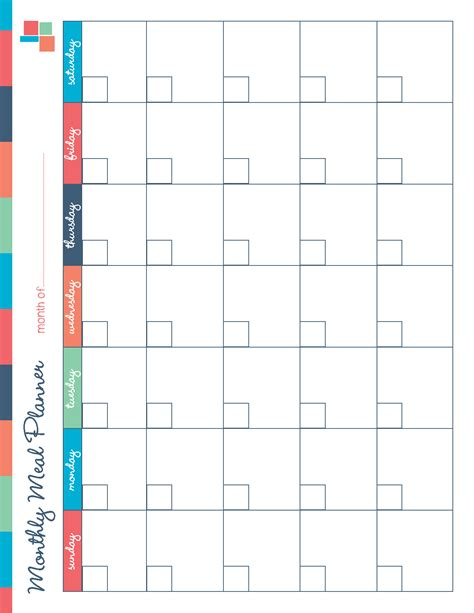 printable planner by month free printable monthly meal planning calendar template 2016