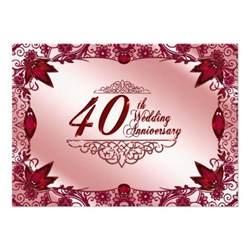 40th anniversary color 40th wedding anniversary invitation 11 cm x 16 cm
