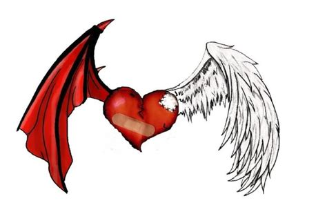 angel devil heart tattoo designs blue in with wings on chest for