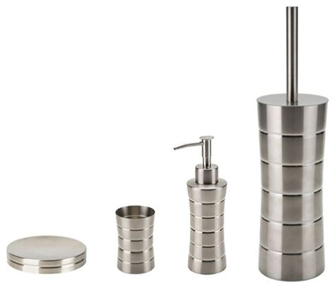 Brushed Nickel Bathroom Accessories Set Free Standing Brushed Nickel Bathroom Hardware Set Transitional Bathroom Accessory Sets By