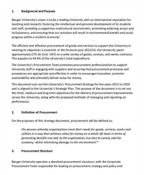 procurement strategy templates 7 free pdf documents