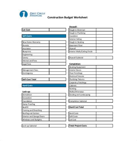 construction budget template construction budget worksheet worksheets releaseboard