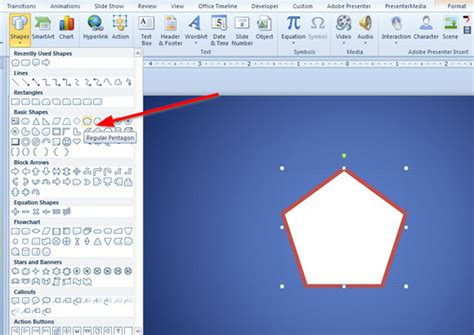 How To Draw A Pentagon Shape In Powerpoint 2010 How To Use A Powerpoint Template