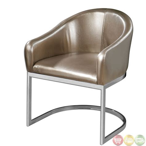 Faux Leather Accent Chair Marah Metallic Chagne Faux Leather Accent Chair 23148