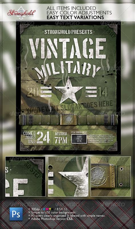 military templates for photoshop vintage military armed forces flyer template armed