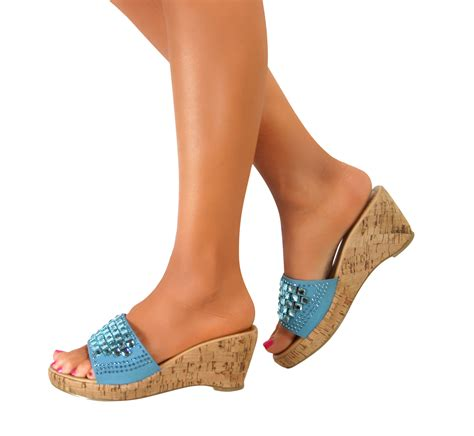 Platform Wedge Slip Ons platform wedge block high heels peep toe sandals