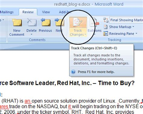 word reading layout turn off using microsoft track changes word 2007