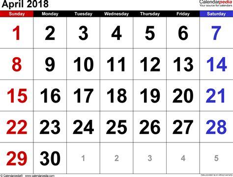 april 2018 calendar cute