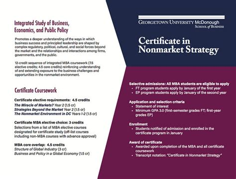 Mba International Business Certificate Georgetown by Admissions Certificate In Nonmarket Strategy Mcdonough