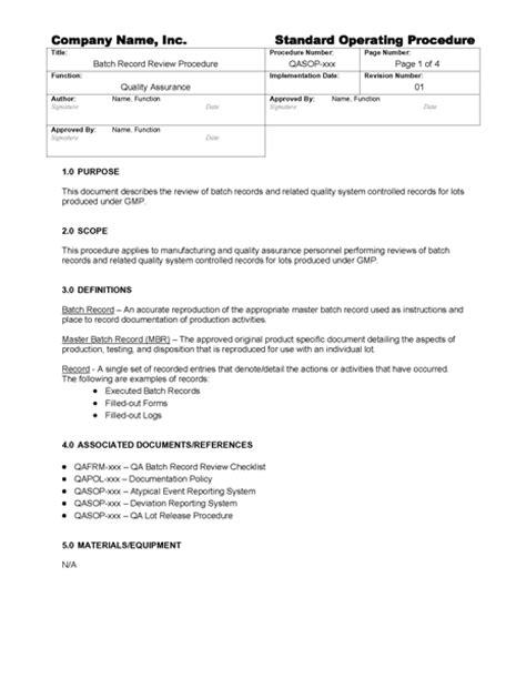 Batch Record Review Checklist Template Batch Record Review Gmpdocs Com