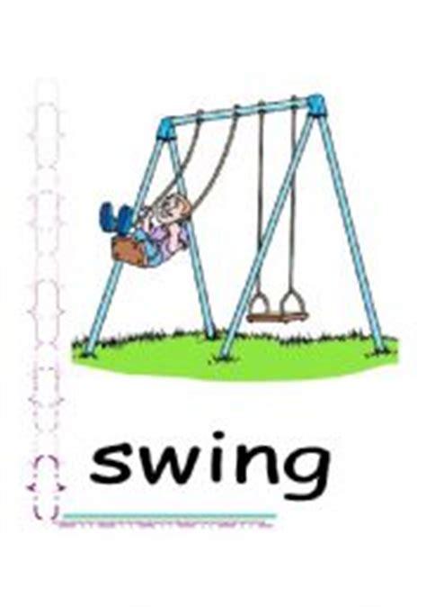 Swing Verb Worksheet Playground Flash Cards