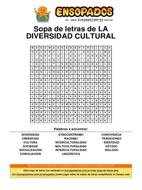 libro la diversidad de la sopa de letras de la diversidad cultural