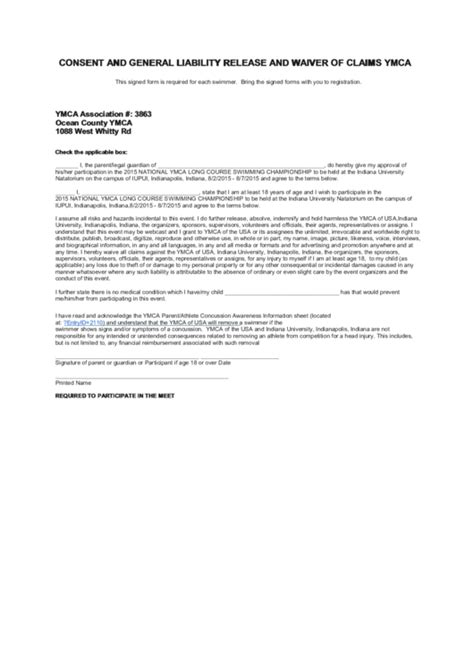 Consent And General Liability Release And Waiver Of Claims Ymca Form Printable Pdf Download General Liability Release Of Claims Template