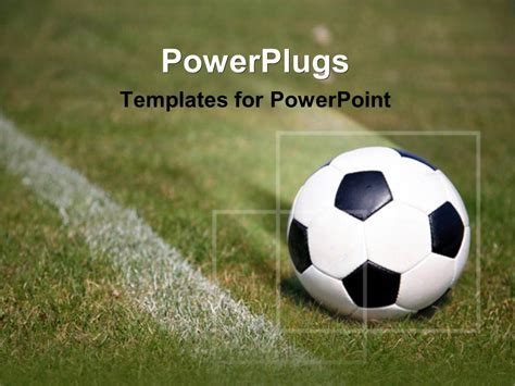 powerpoint template soccer ball on field 27189