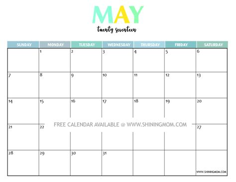 May 2017 Calendar To Print