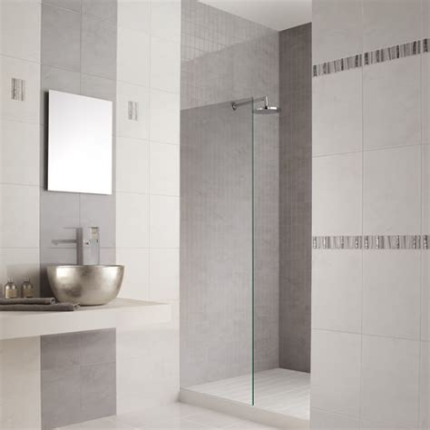 Tiling Ideas For Bathrooms by White Marble Effect Ceramic Wall Tiles With Grey Veins In