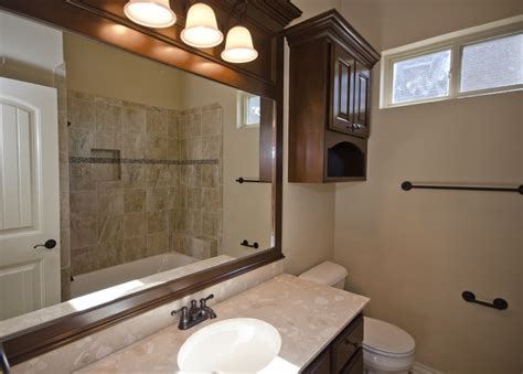 wood trim around bathroom mirror bathroom with dark wood trim around mirror transitional