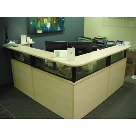 Reception Unit L Shaped Blonde Transaction Counter Reception Desk With Transaction Counter