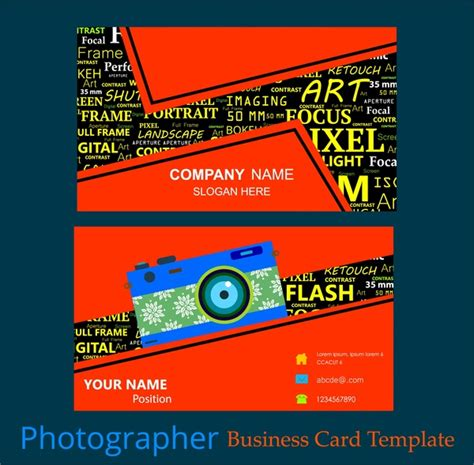 Photographer Business Card Template Illustrator by Photographer Business Card Template Words Mixing Style
