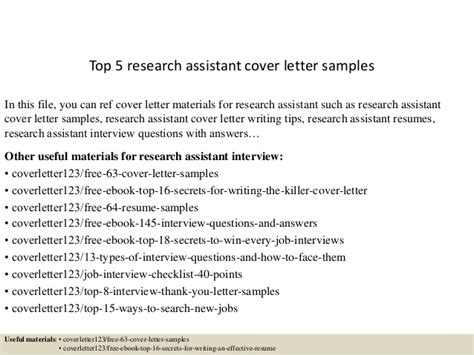 Cover Letter Exle Research Assistant Top 5 Research Assistant Cover Letter Sles