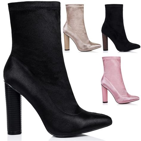 sock ankle boots womens fitted sock pointed toe block heel ankle boots