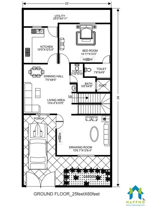 plans for a 25 by 25 foot two story garage 2 bhk floor plan for 25 x 60 feet plot 1500 square feet