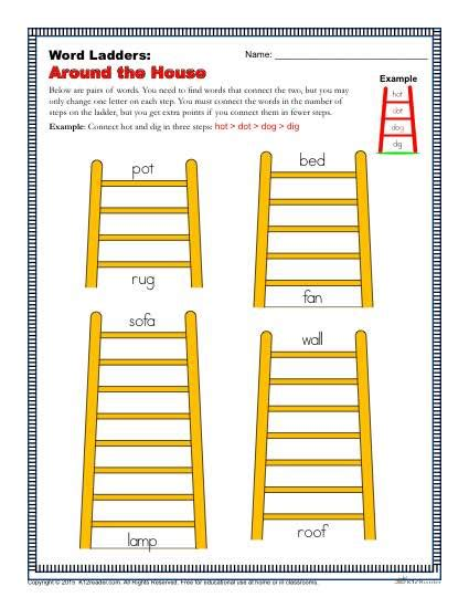 Word Ladder Worksheets by Around The House Word Ladders 2nd 3rd And 4th Grade