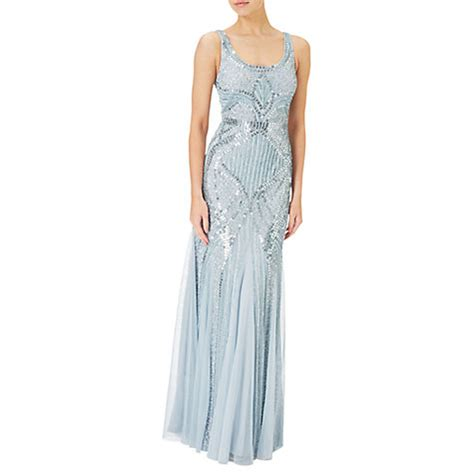 blue beaded gown papell sleeveless beaded gown designer blue