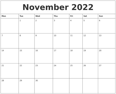 printable monthly calendar november november 2022 blank printable calendars