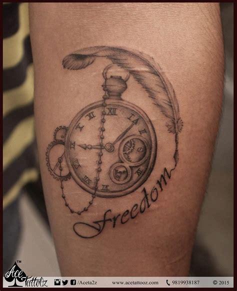 Tattoo Feather Clock | 19 wonderful grey ink clock tattoos