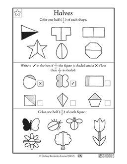 printable half and quarter worksheets 1st grade math worksheets halves greatschools