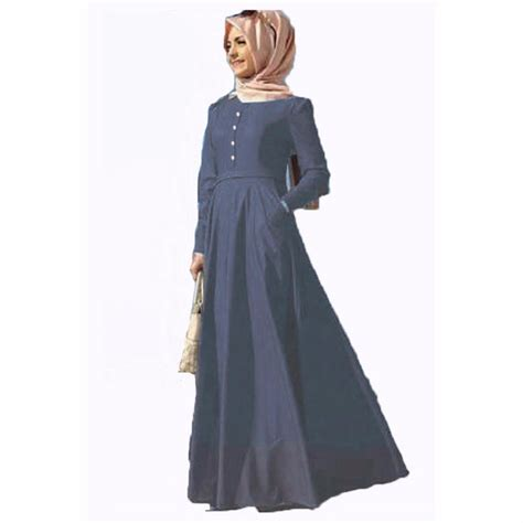 Gamis Fashion jfashion sleeve chambray gamis fashion biru indo lapak indo lapak