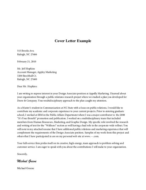 cover letter content for resume cover letter content