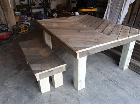 rustic bench table chevron rustic farm matching pallets table and bench