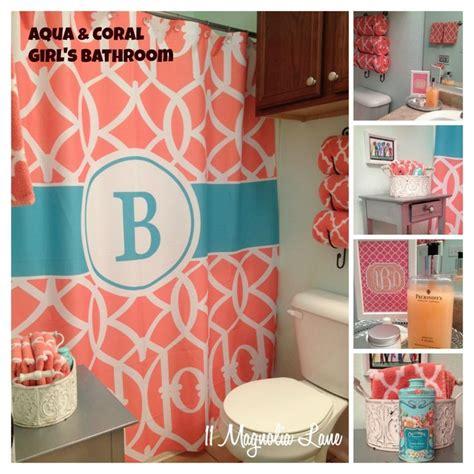aqua and coral bathroom aqua coral bathroom monogram girls bathroom pinterest