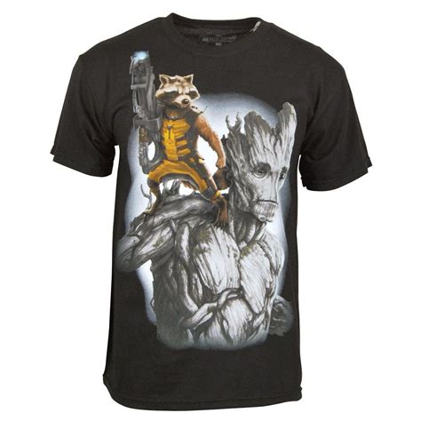 T Shirt Pria Groot Guardians Of The Galaxy 1 guardians of the galaxy rocket and groot t shirt black