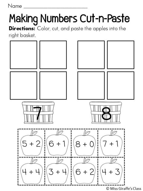 Cut And Paste Fall Worksheets by Numbers Fall Apple Sort Cut And Paste Worksheets