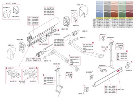 spare parts diagram fiamma f45 i 250 400 awning polar