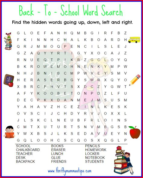 School Search Back To School Word Search