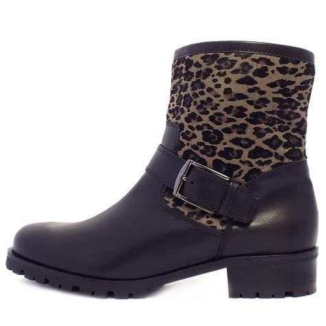 kaiser ivana biker boots in black leather leopard