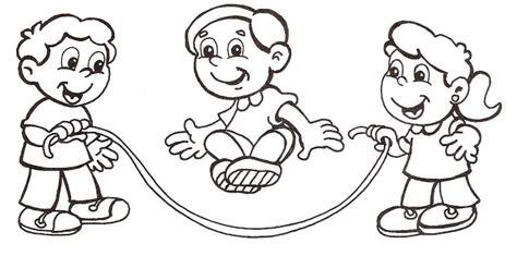 imagenes de niños jugando ala cuerda ni 241 os jugando a la cuerda para colorear imagui