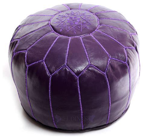 purple pouf ottoman moroccan pouf purple leather pouf round ottoman foot
