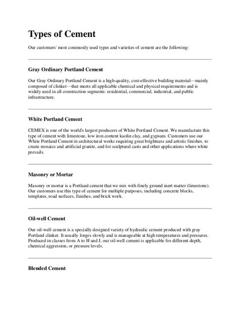 What Type Of Cement To Use For Concrete Countertops by Types Of Cement
