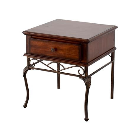 90% OFF   Wood and Metal Single Drawer End Table / Tables