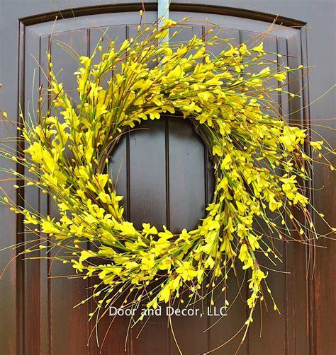 spring wreaths for your front door simply kierste design co yellow flowersforsythia wreathfront door by dooranddecor