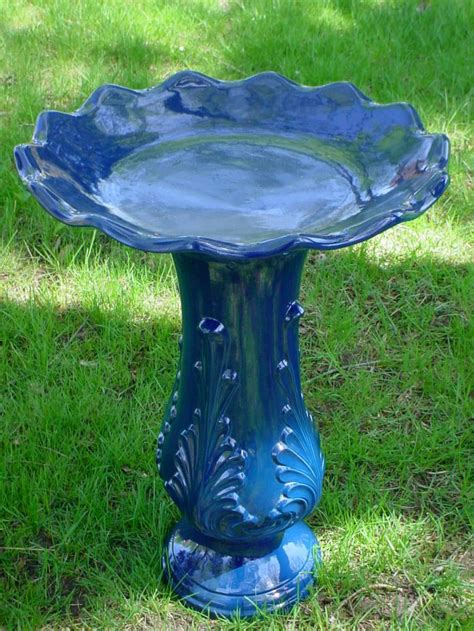 blue ceramic bird baths birdcage design ideas